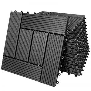 33x Dalles de terrasse en bois composite WPC Mosaïque Anthracite 30x30cm Jardin de la marque Deuba image 0 produit