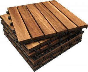 36x Easimat Dalles en bois d'acacia pour terrasse en bois. Patio, Jardin, balcon, jacuzzi. 30 cm carré Deck pour carrelage de la marque Click-Deck Hardwood Tiles image 0 produit