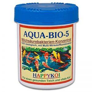 AQUA bIO 5 poudre (bactéries lactiques probiotische filterbakterien koiteich, pour étang et bassin de jardin, nitrifizierung construire, les algues et la boue à partir de la protection complète et bassin pour carpes koi 1500 ml de la marque Happykoi image 0 produit