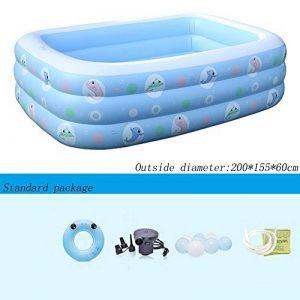 Bleu gonflable de la piscine 3 rondes bleu rectangulaire épaississent la piscine marine de boule de ménage de bébé 200 * 155 * 60cm de la marque Piscine gonflable image 0 produit