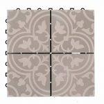 BodenMax® Lot de 8 Dalles impression Mosaïque Gris et blanc 30 x 30 cm en Ciment, carrelage pour terrasse à emboiter (8 Pièces) de la marque BodenMax image 6 produit