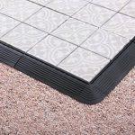 BodenMax® Lot de 8 Dalles impression Mosaïque Gris et blanc 30 x 30 cm en Ciment, carrelage pour terrasse à emboiter (8 Pièces) de la marque BodenMax image 4 produit