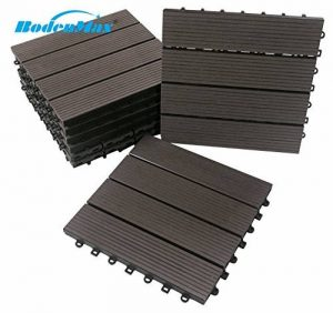 Carreaux de sol WPC clipsables BodenMax® Dalles de terrasse en bois naturel à emboîter Lot de 8 dalles 30 x 30 cm, noir anthracite de la marque BodenMax image 0 produit