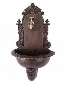 Fontaine murale de jardin avec vasque - style antique - aluminium - motif grappe de raisin - marron de la marque aubaho image 0 produit