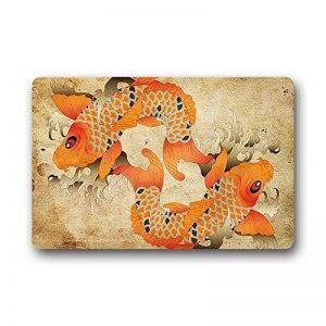 Hi, Paillasson japonais Fancy Carpe Koi Fish Paillasson extérieur/intérieur lavable en machine Home Tapis de sol Tapis 59,9x 39,9cm de la marque Hi,Doormat image 0 produit