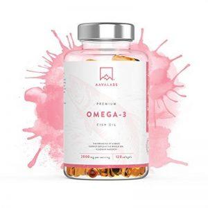 Huile de poisson Omega 3 [ 2000 mg ] par Aava Labs - Extra fort - Distillée moléculairement pour pureté et fraîcheur - 800 mg d'AEP et 400 mg d'ADH par dose journalière - Sans OGM, gluten ni produits laitiers - 120 gélules. de la marque Aava Labs image 0 produit