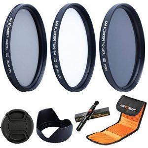 K&F Concept 58mm Objectif Filtre UV CPL ND4 Kit de Filtres Protection UV, Filtre Polarisant circulaire, Filtre à Densité Neutre pour DSLR Canon 600D EOS M, M2, 700D 100D 1100 D 1200 D 650D appareil photo réflex numérique + Pare-soleil + Bouchon d'Objectif image 0 produit