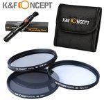 K&F Concept 77mm UV CPL ND4 Lentille Kit De Filtre Protection UV Filtre Polarisant Filtres à Densité Neutre + Stylo de Nettoyage + Pochette Filtre de la marque K&F CONCEPT image 1 produit