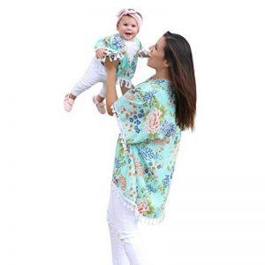 Kimono Cardigan Femme ete, Maman et moi ete Bébé fille Fleur Châle Kimono Cardigan Hauts Tenue de famille Vêtements, Casual Cover up Ba Zha Hei de la marque Ba Zha Hei Femme image 0 produit