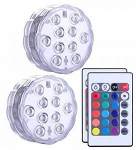 Lumière submersible de LED 2 pièces avec la télécommande, lampe multi de couleur imperméable d'Alilimall pour les piscines, bains chauds, vase de base, floral, aquarium, étang, mariage, partie, éclairage de la marque Alilimall image 0 produit