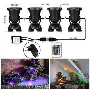 ONEVER Led Underwater Spotlight Kit avec télécommande | 4pcs Multicolor RGB Aquarium Lights avec prise EU | IP68 imperméable à l'eau pour l'éclairage de réservoir de poissons de jardin de la marque ONEVER image 0 produit