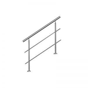 SAILUN Main courante escalier,100cm Garde-corps en acier inoxydable avec 2 poteaux traverses,pour escaliers,balustrade,balcon de la marque SAILUN image 0 produit