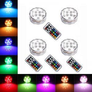 StillCool Lumière submersible de LED, Lampe Sous-marines décoratives multicolore LED Avec Télécommande Pour L'éclairage/aquarium de poisson/Mariage/Fête (Lot de 4pcs LED) de la marque StillCool image 0 produit